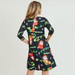 Wholesale women s Christmas Ho Ho Ho Santa print Line dress pocket details o sle