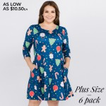 Wholesale women s plus gingerbread Christmas print line dress pocket details o s