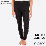 Wholesale black Moto Jeggings faux front pockets real back pockets polyester cot