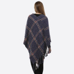 Wholesale navy blue poncho plaid tassel accents acrylic One fits most