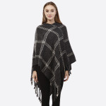 Wholesale charcoal gray poncho plaid tassel accents acrylic One fits most