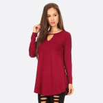 Wholesale long Sleeve Crew Neckline Tunic o Lightweight jersey tunic o Crew neck