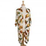 Wholesale lightweight long kimono pineapple print viscose One fits most