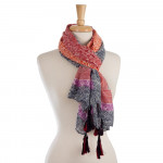 Wholesale lightweight open scarf mix prints designs tassels corners polyester