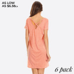 Wholesale cross Back V Neck Pocket T Shirt Dress Women Comfortable Casual Flowy