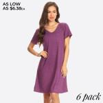 Wholesale cross Back V Neck Pocket T Shirt Dress Women Comfortable Casual Flowy