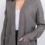 Wholesale solid color thin knit cardigan front pocket details One fits most Acry