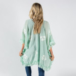 Wholesale ruffled kimono floral details One fits most Approximate cotton polyest