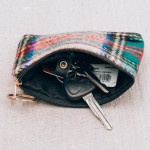 Wholesale glen check coin card pouch W H Polyester