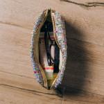 Wholesale metallic faux leather cosmetic travel pouch detachable wristlet Open l