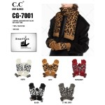 Wholesale c C CG Leopard jacquard knit glove knit pom Polyester One fits most